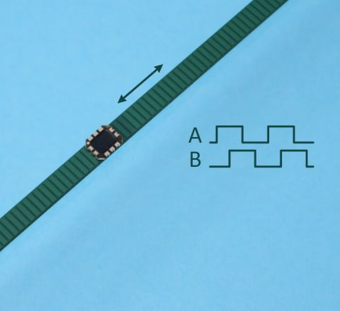 Inductive Linear Encoder Chip ID4501L with scale
