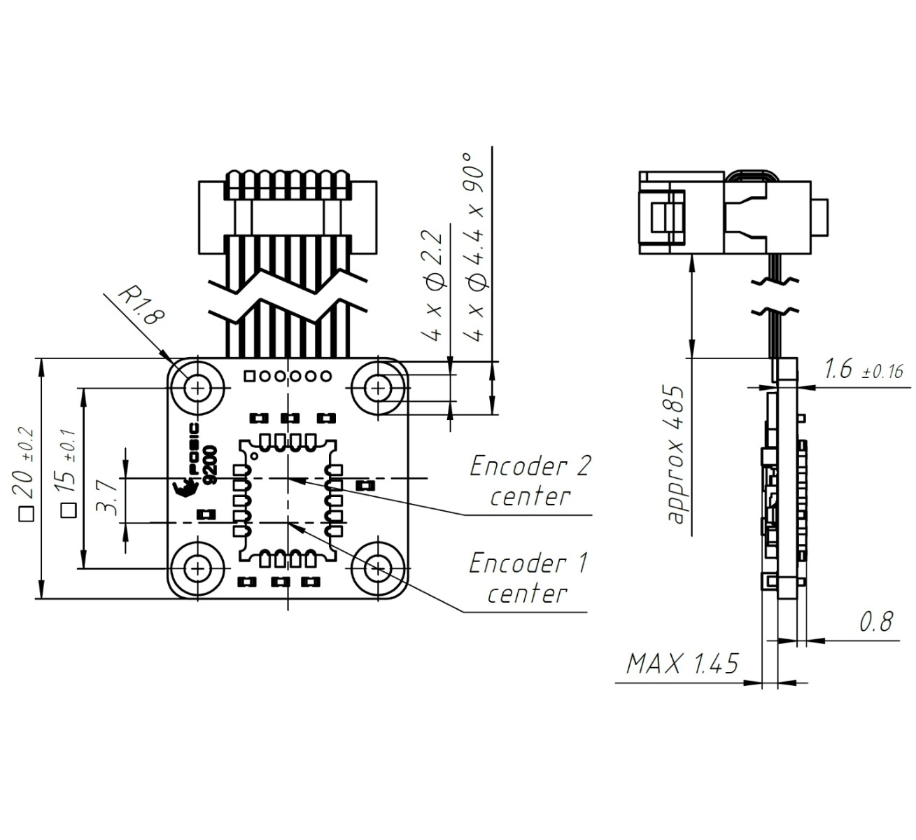 Technical drawing of the Absolute Linear Encoder AP9200L