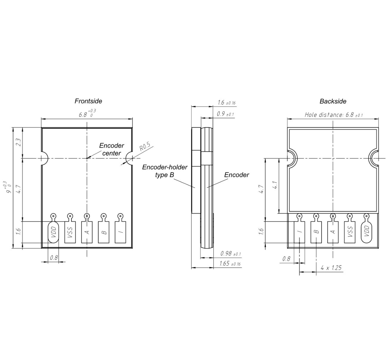 Technische Zeichnung POSIC Encoder ID1102, Abmessungen in millimeter
