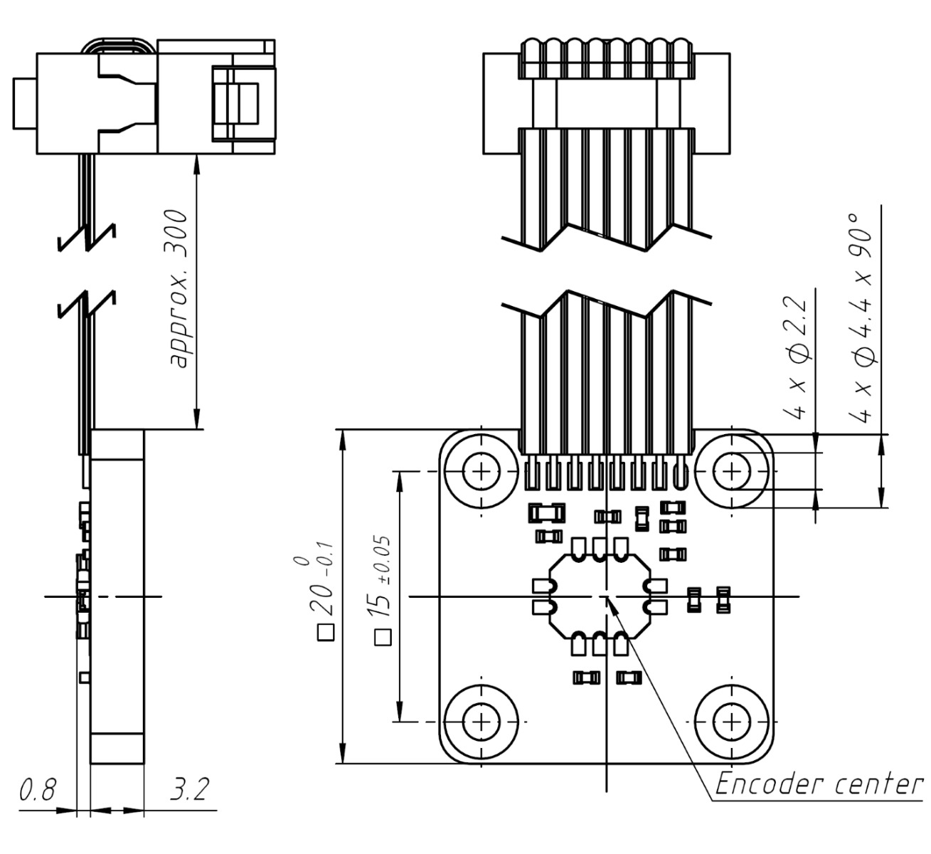 Encoder Id4501c Ribbon Cable Schematic Dimensions Mm Of Id4501 On Holder Type A With Flat Pitch 127 And 8 Pin Din41651 Connector