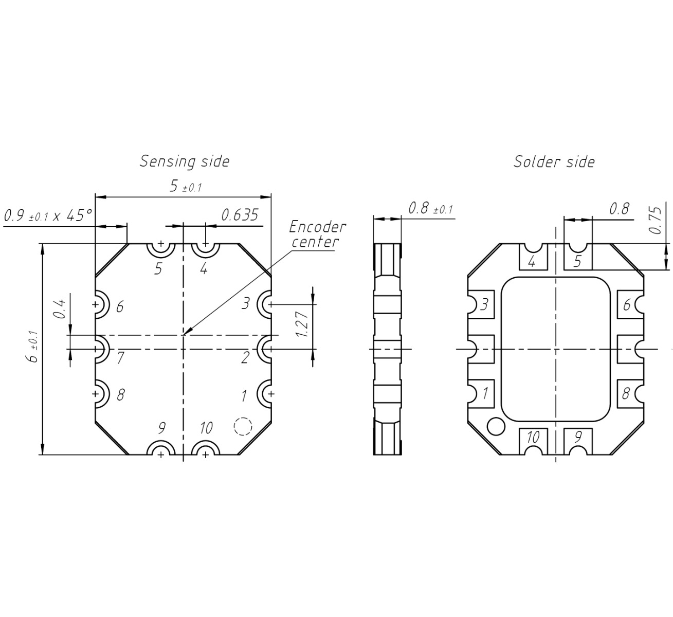 Technical drawing of the ID4501 encoder