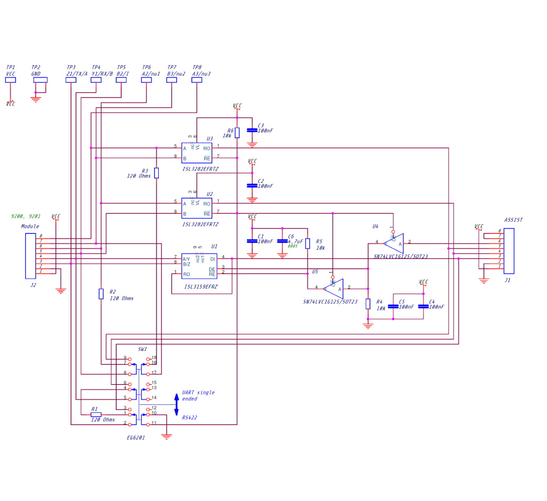 Schéma électrique de l'interface avec linedriver